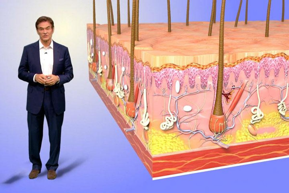 Dr. Oz demonstrates how skin ages and loses collagen over time.