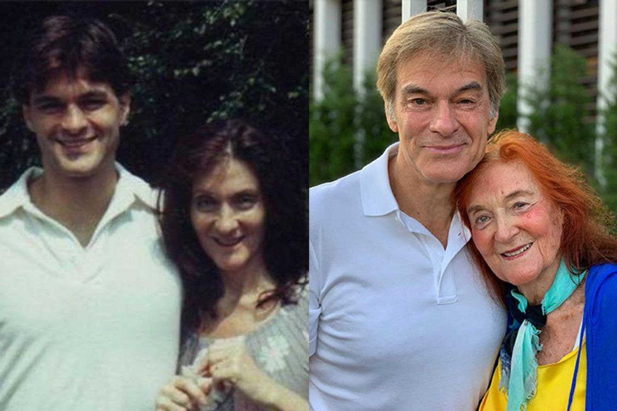 Dr. Oz poses in two photos with his mom, who he says was diagnoses with Alzheimer's.