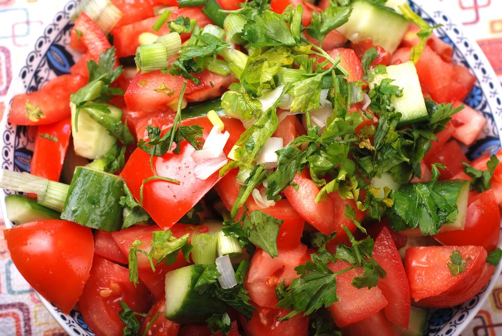 Hearty Sprouted Bread and Tomato Salad