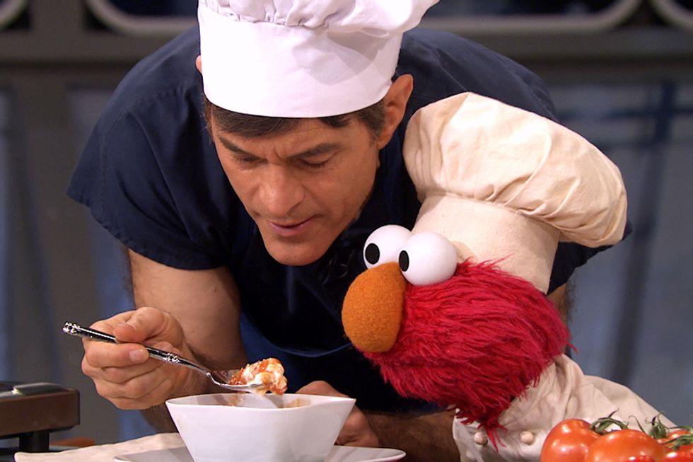Elmo's Red Veggie Alphabet Soup