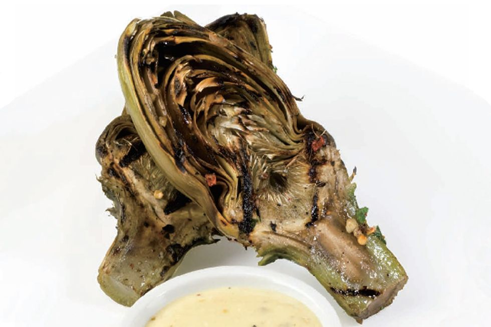 Tal Ronnen's Grilled Artichokes with Vegan Caesar Dressing
