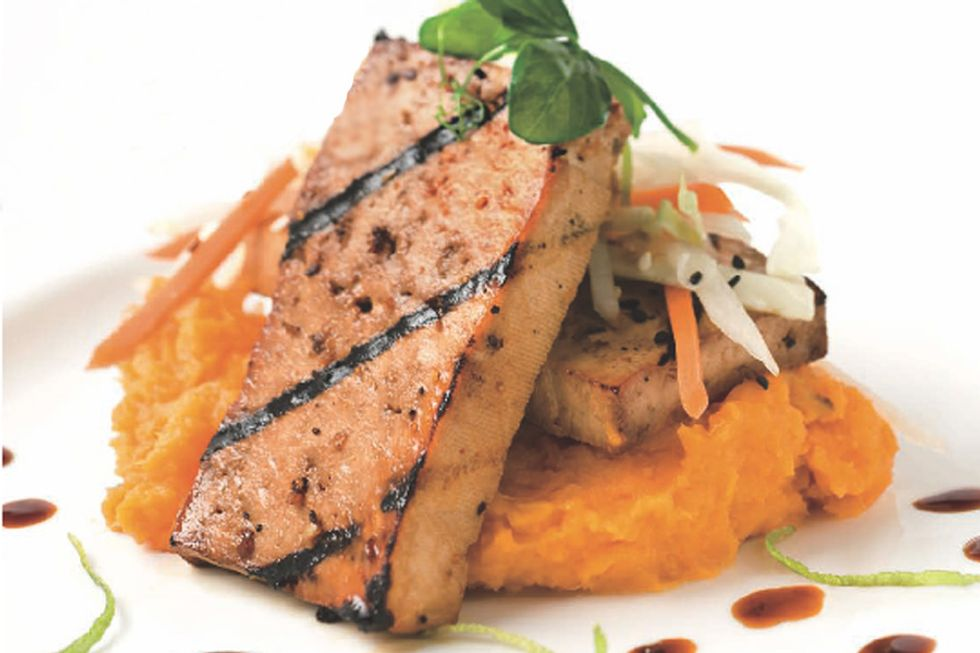 Tal Ronnen's Agave Lime Grilled Tofu with Asian Slaw and Mashed Sweet Potatoes