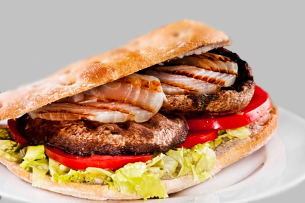 Rip Esselstyn's Portobello Mushroom Burger with Sweet Potato Fries