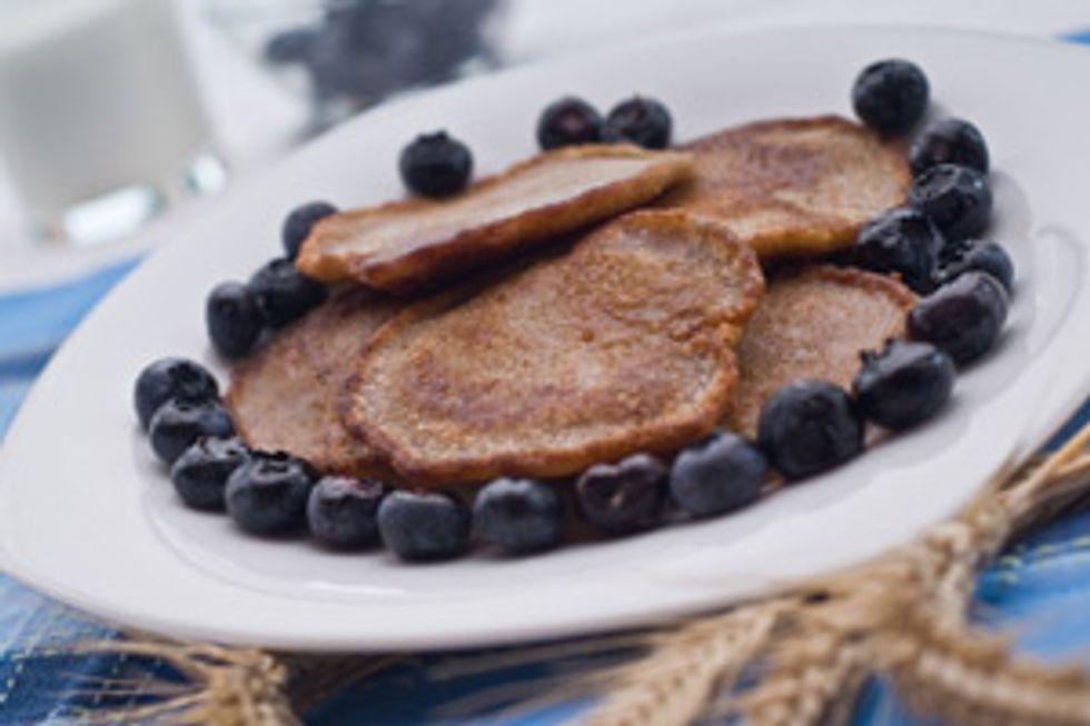 Buckwheat and Blueberry Pancakes with Turkey Sausage