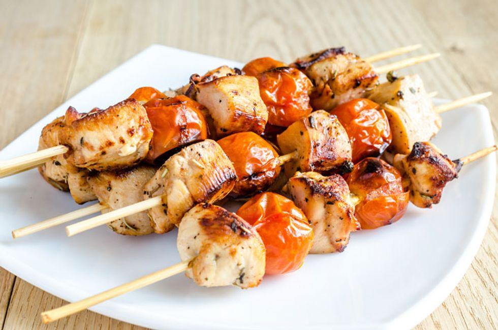 Chia Chicken Pesto Kabobs