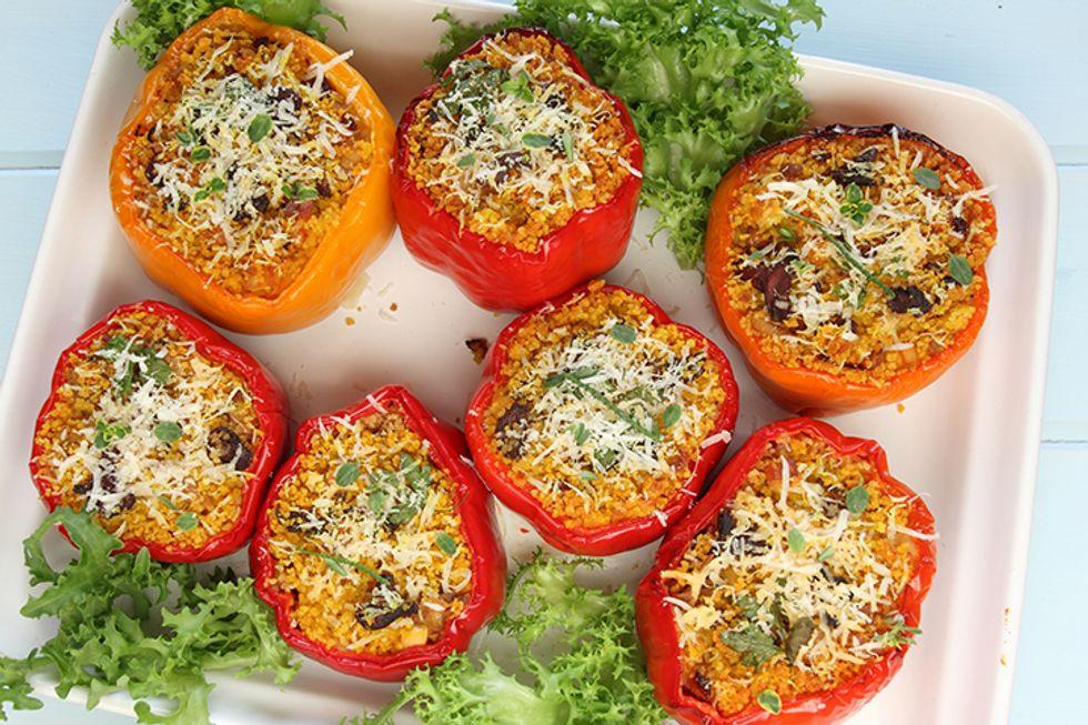 Lentil-Quinoa-Stuffed Peppers