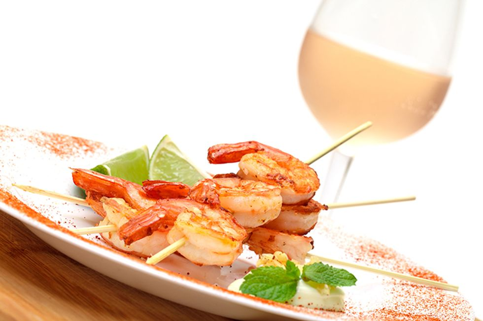 Jumbo Shrimp and Grilled Greek Garlic