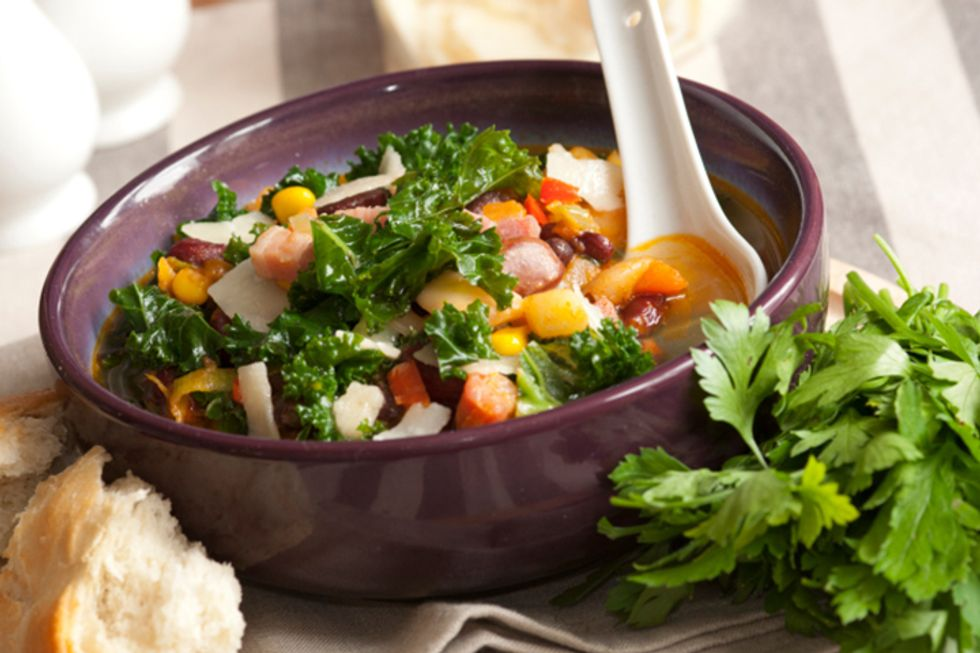 Three-Bean Kale Saute with Brown Rice