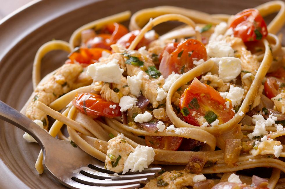 Tomato, Chicken and Feta Cheese with Whole Wheat Fettuccine