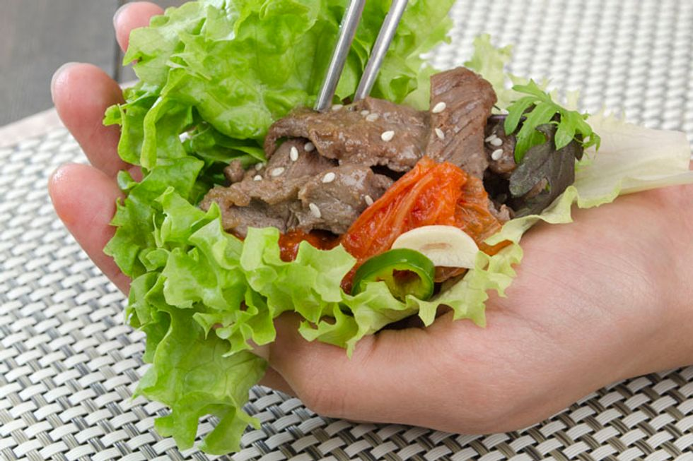 Roast Beef and Vegetable Lettuce Wraps With Chipotle Vinaigrette