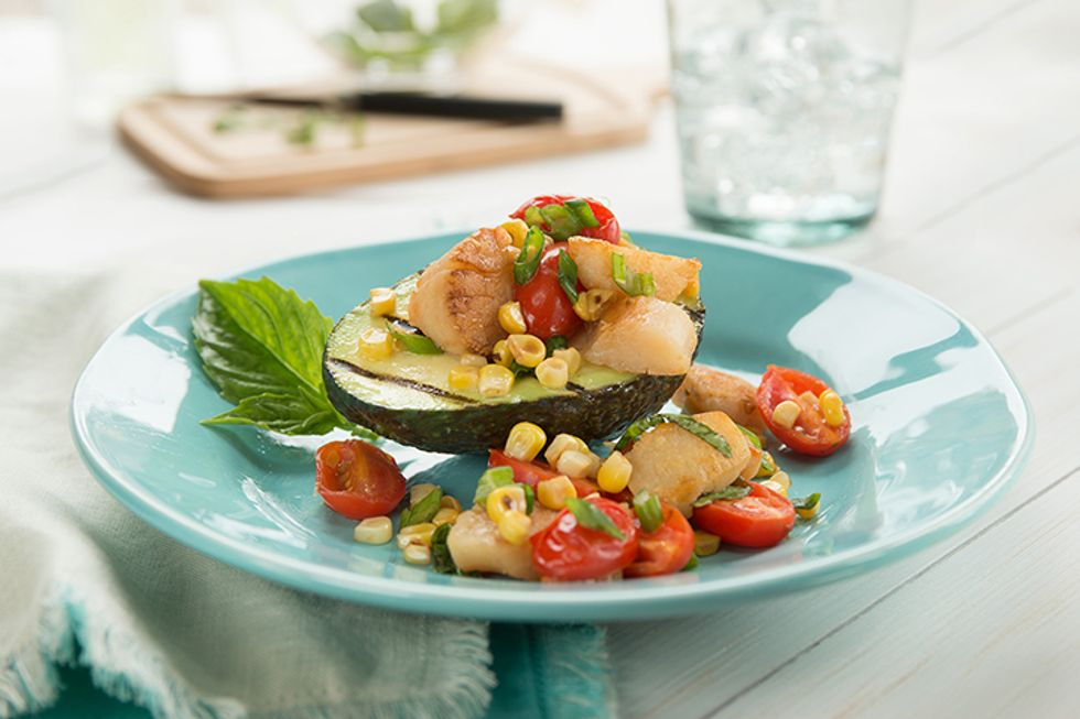 Grilled Avocados with Scallops, Corn & Tomatoes