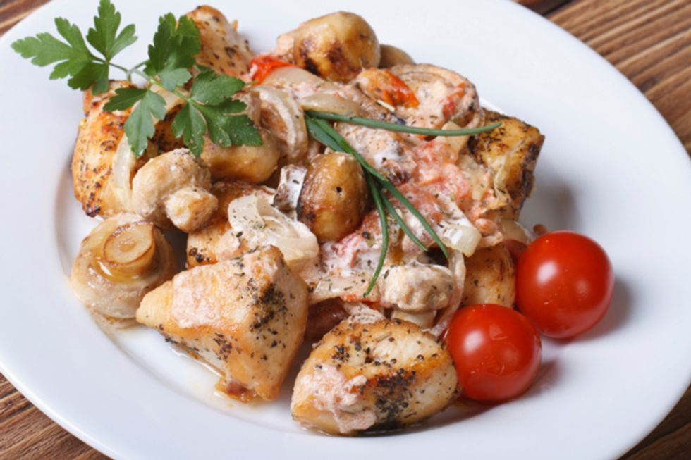 Chicken Fricassee With Shallot and Oyster Mushrooms