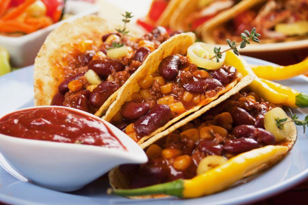 Vegetarian Refried Bean and Salsa Tacos