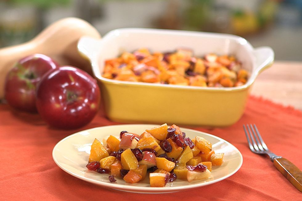 Holiday Butternut Squash with Apple & Cranberries Recipe