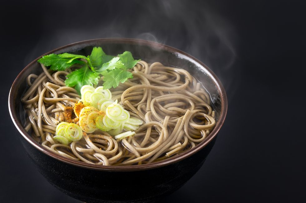 Candice Kumai's Shiitake and Spinach Soba Noodle Soup