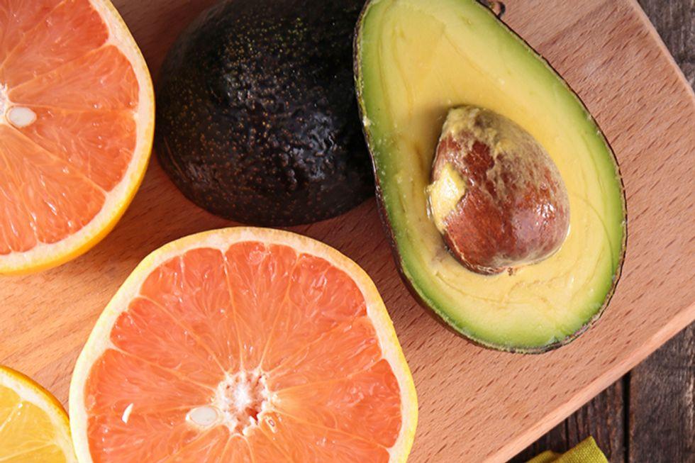 Grapefruit, Avocado, and Veggie Skewers