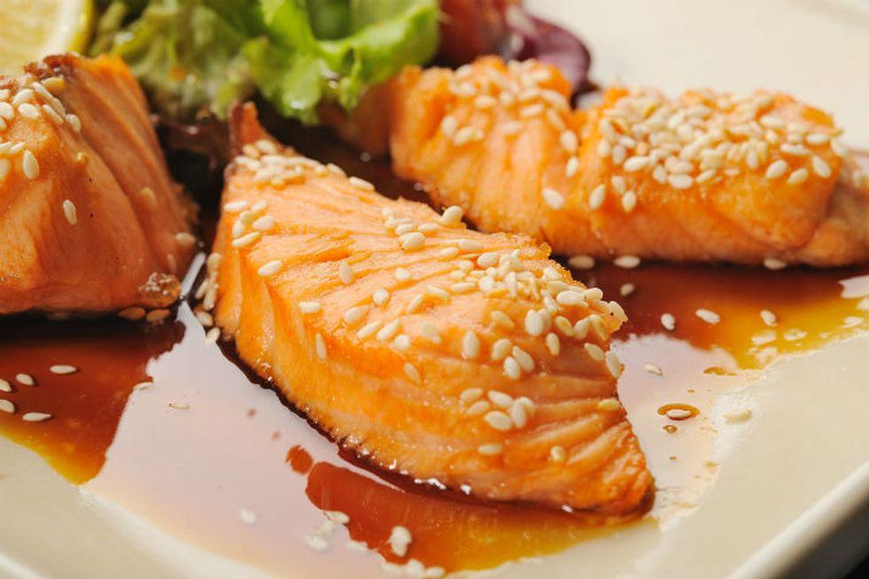 The Pioneer Woman's Teriyaki Salmon and Kale Sheet Pan Supper
