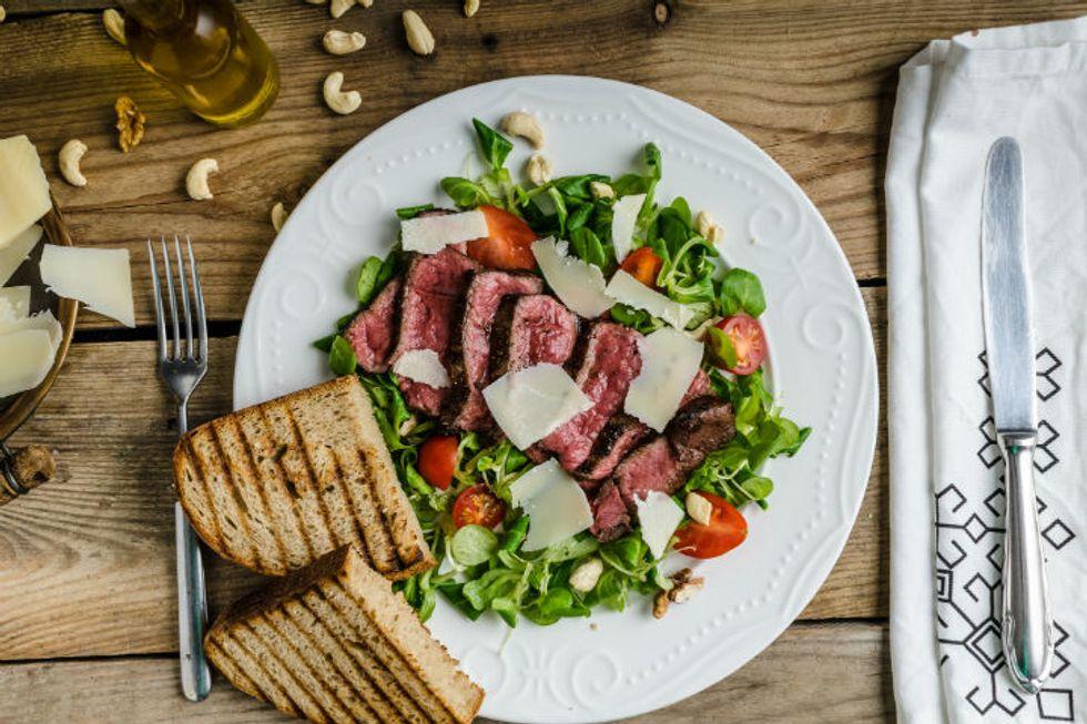 Anne Burrell's Brisket Wilted Romaine Salad