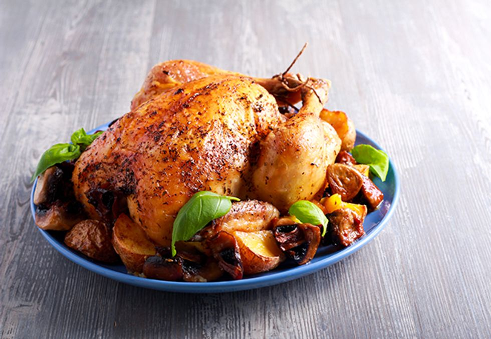 Chef Dan's Whole Roasted Chicken With Escarole and Spicy Vinaigrette