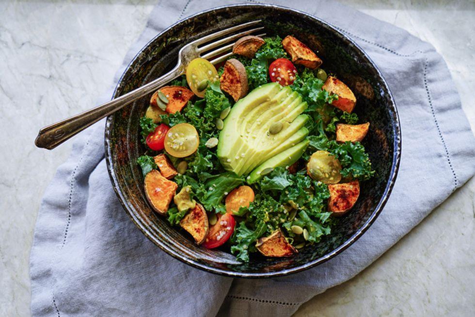 Avocado With Roasted Pumpkin Seeds and Kale Salad