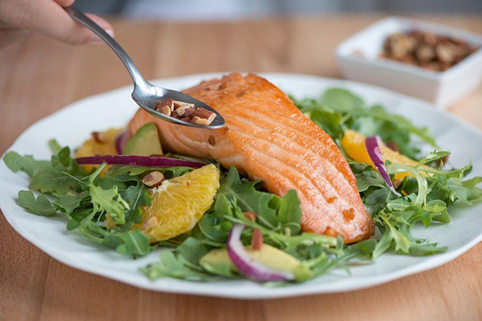Warm Salmon, Avocado & Orange Salad