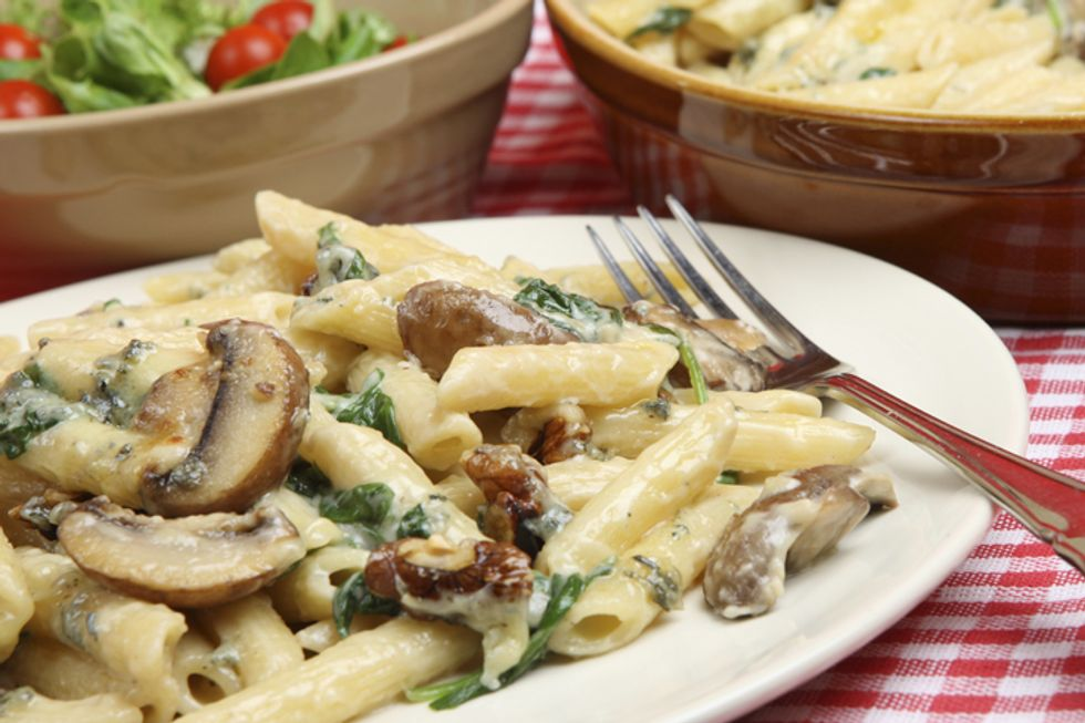 Kamut Pasta With Porcini Mushrooms and Baby Spinach