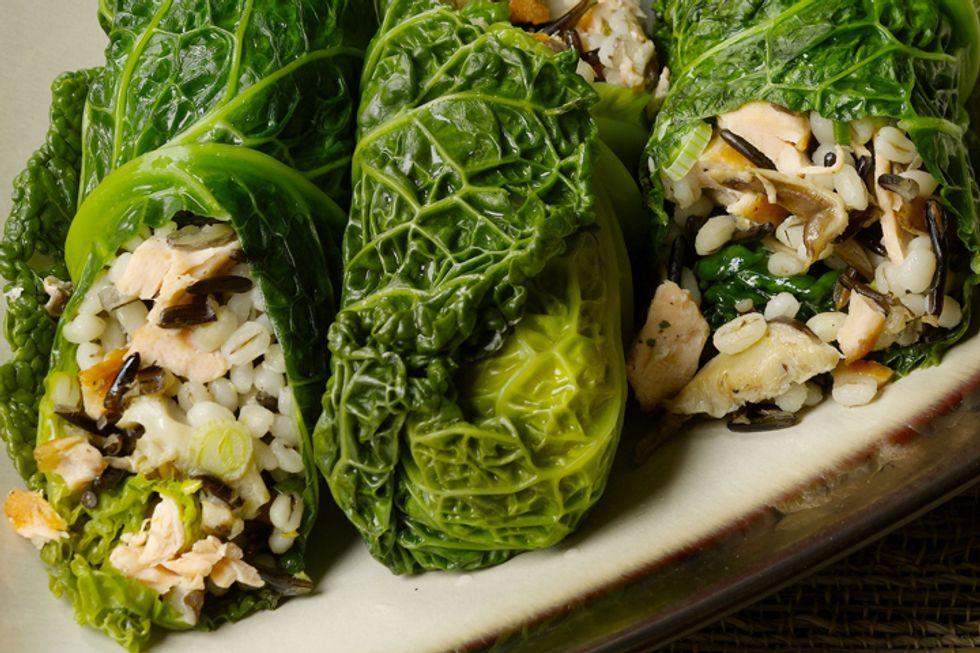 Salmon and Wild Rice-Stuffed Cabbage