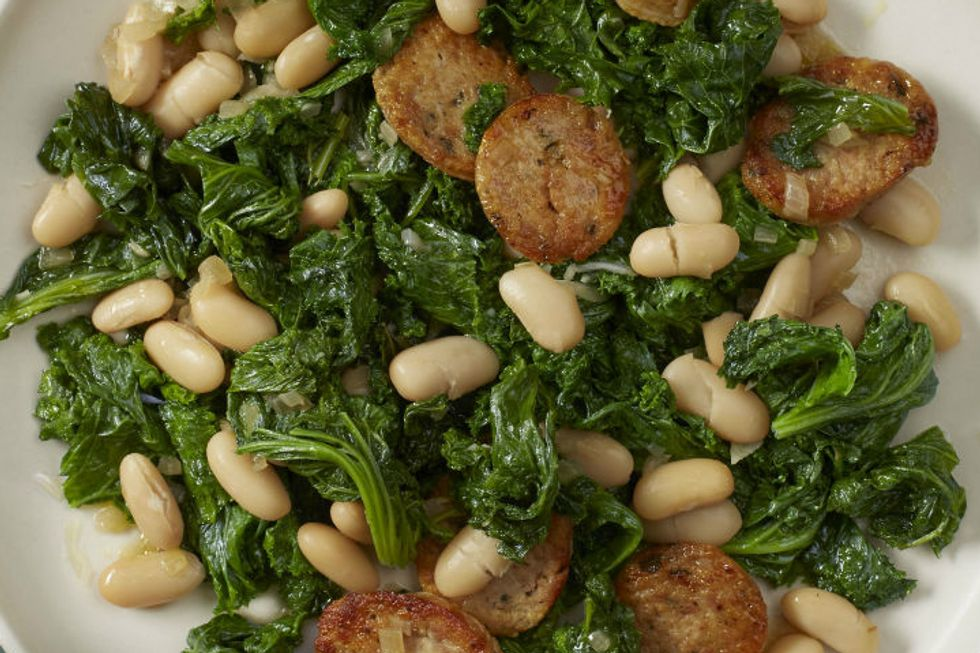 Mustard Greens With Beans and Sausage
