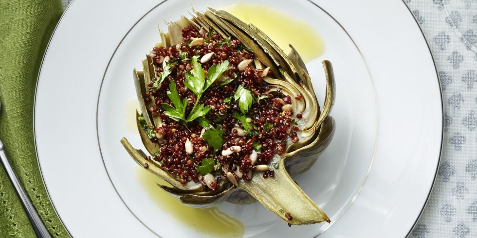 Red Quinoa-Stuffed Artichokes