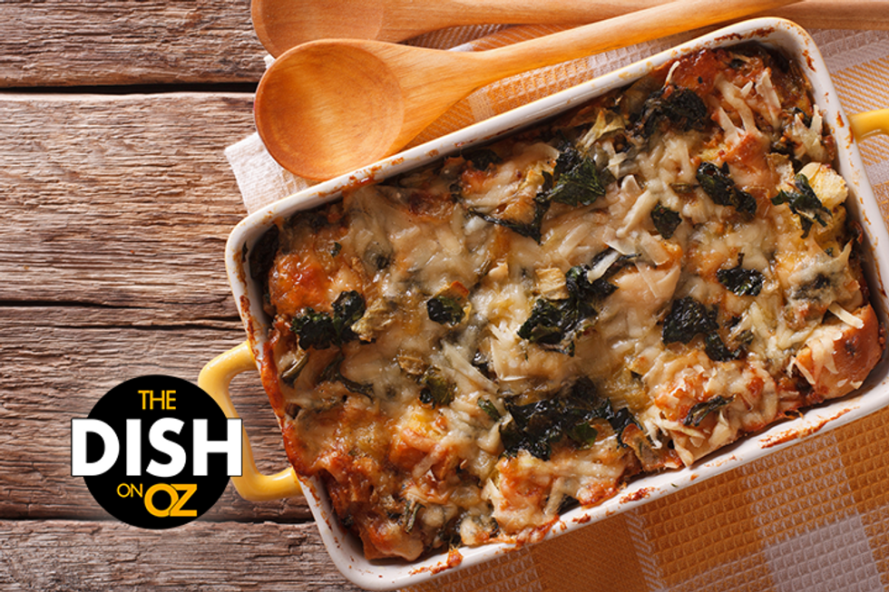 Daphne Oz's Canadian Bacon Egg and Cheese Strata