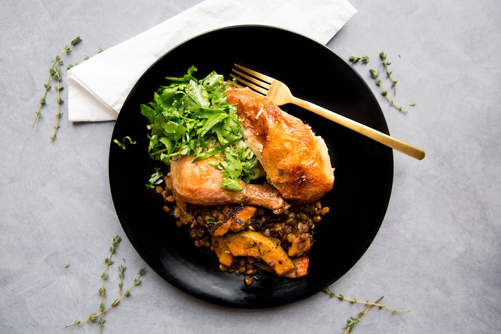 Daphne Oz's Truffle Salt Roast Chicken with Lentils and Squash