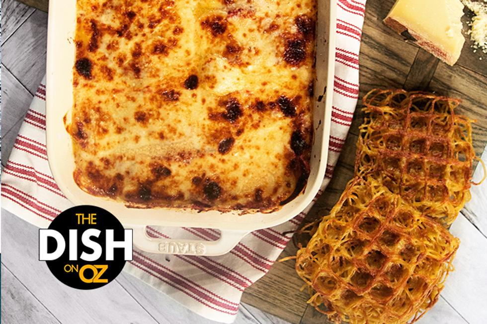"Alex Guarnaschelli's Chicken Parmesan with Spaghetti ""Waffles"""