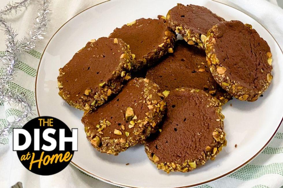 Plate of pistachio cookies.