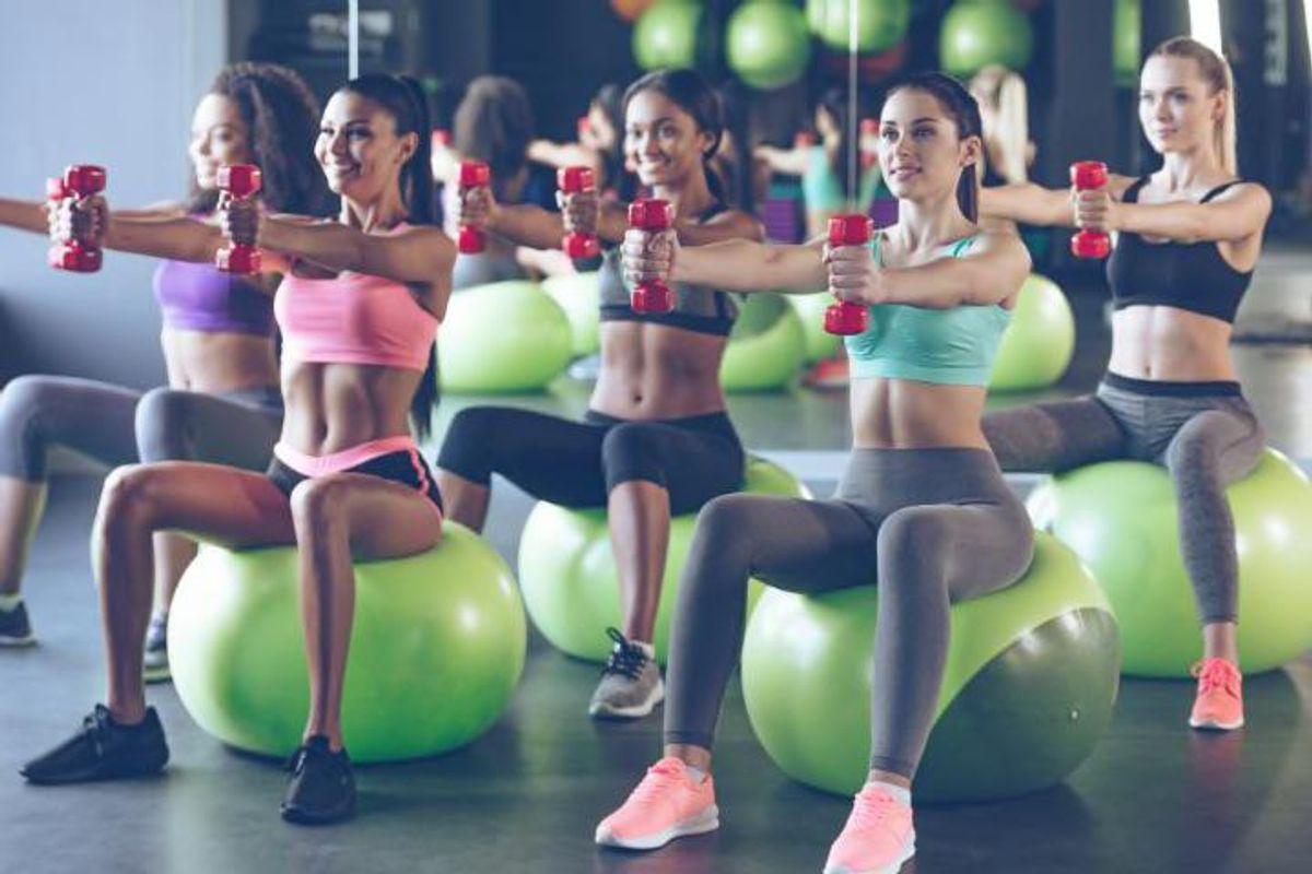image of women on exercise balls