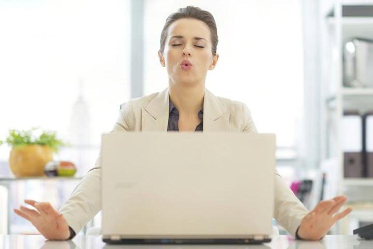 woman de-stressing