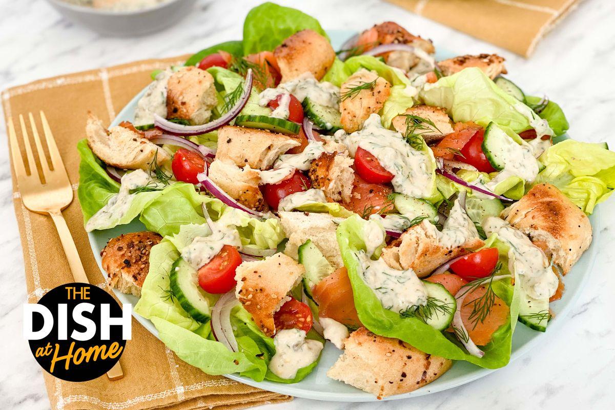 Smoked Salmon Salad & Everything Bagel Croutons
