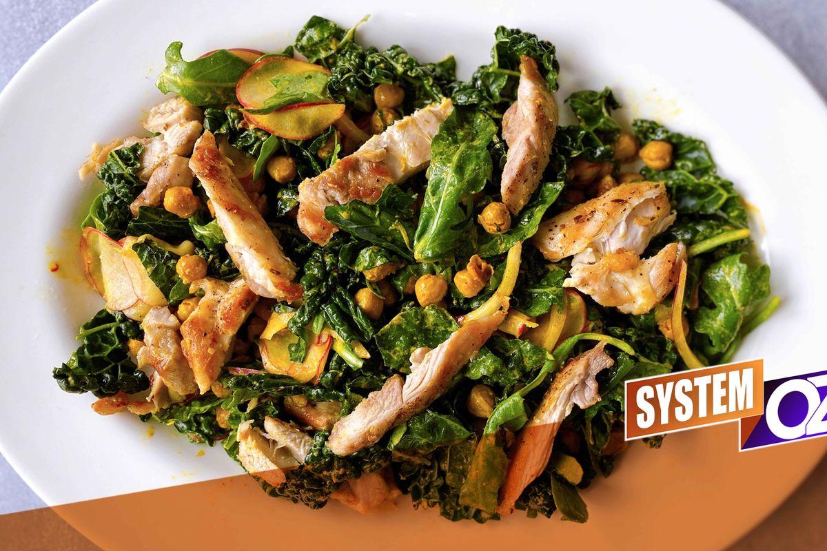 Grilled Chicken Caesar Salad With Kale & Chickpeas
