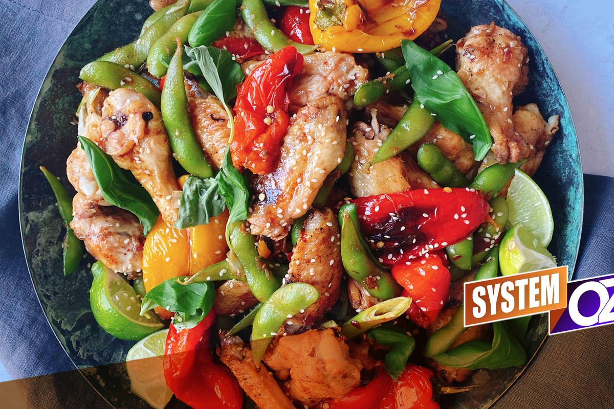 Chicken Wings With Blistered Peppers & Edamame