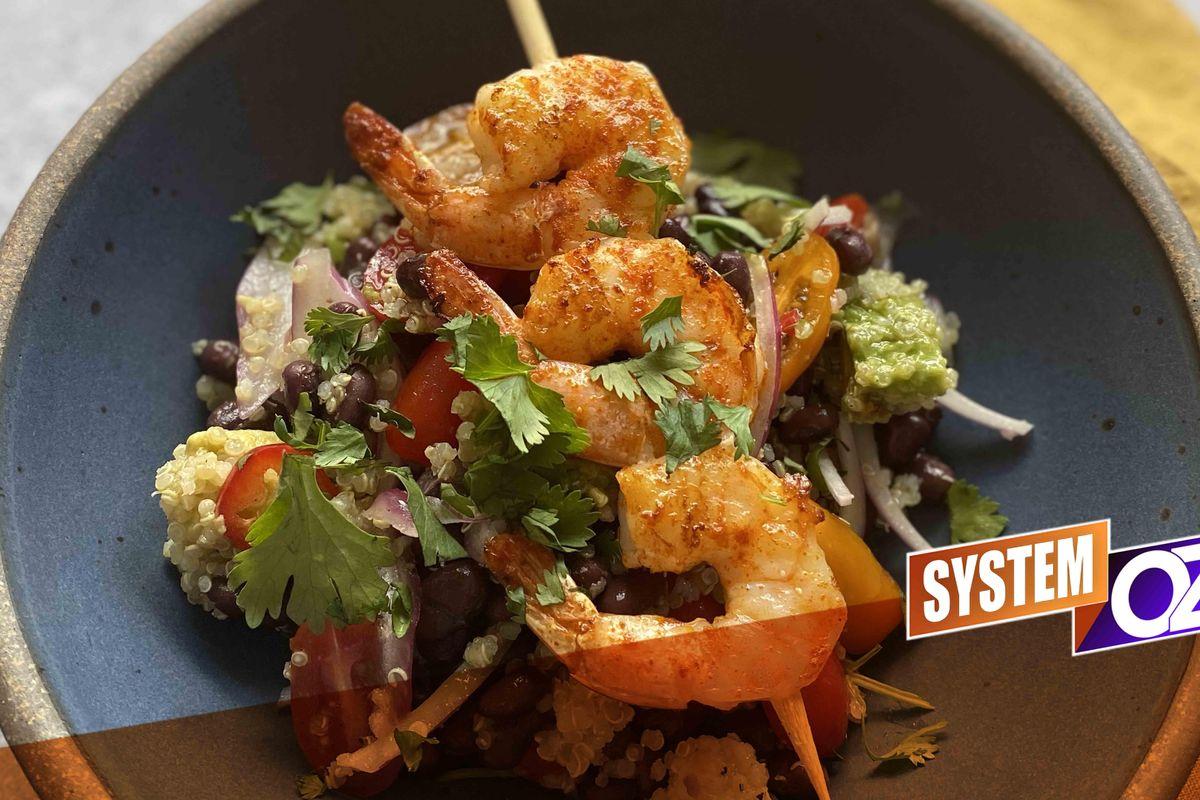 Grilled Shrimp, Black Bean & Quinoa Bowl