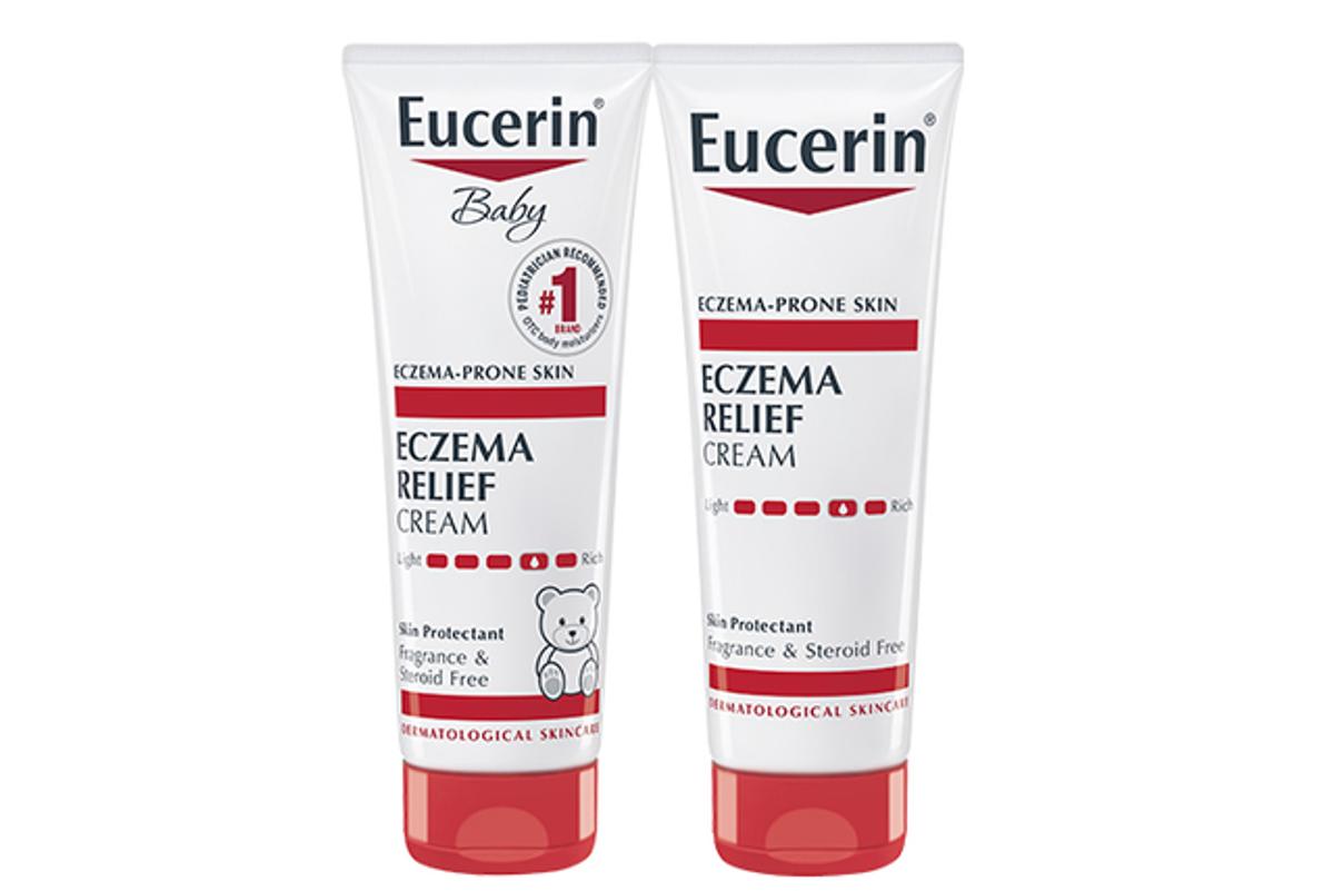Image of two Eucerin eczema relief cream bottles
