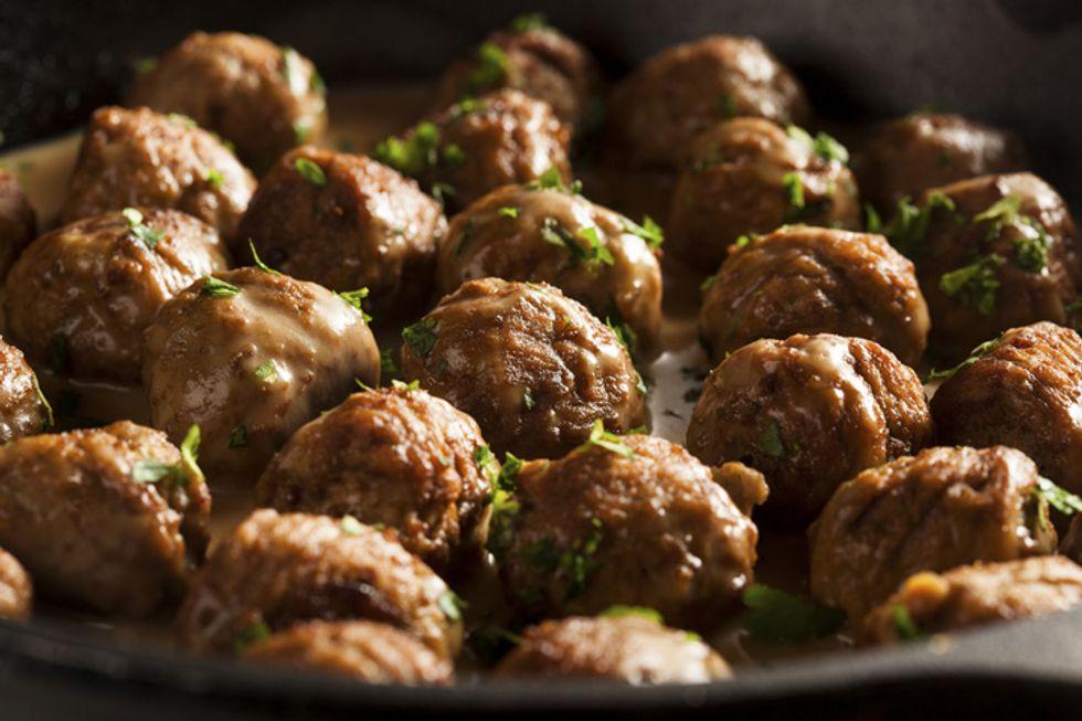 Rocco DiSpirito's Meatballs with Mushroom and Spinach Gravy