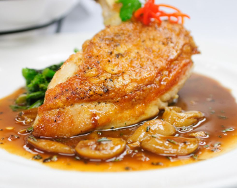 Gisela's Chicken with Porcini Mushrooms & Sweet Potato Rounds