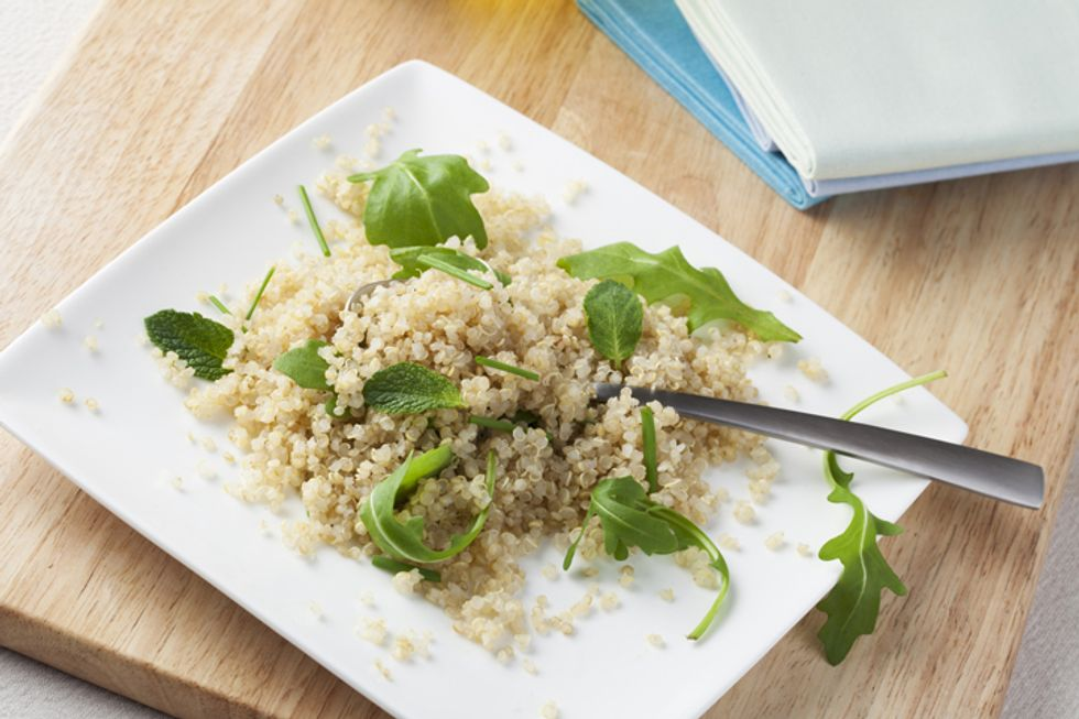 Quinoa Salad with Grilled Mixed Veggies and Feta Cheese