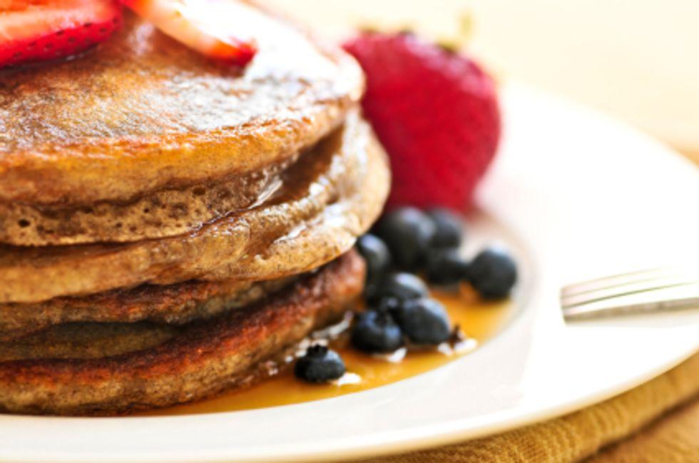 Anti-Cancer Orange-Banana Whole-Wheat Pancakes & Green Tea