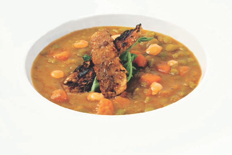 Tal Ronnen's Split Pea Soup with Tempeh Bacon and Chipotle Cream
