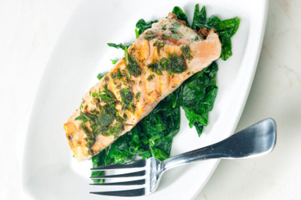 Salmon with Mustard Crust and Sautéed Spinach