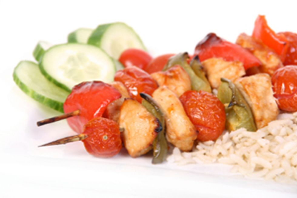 Mom-on-the-Go Chicken Kabobs with Brown Rice by the Deen Brothers