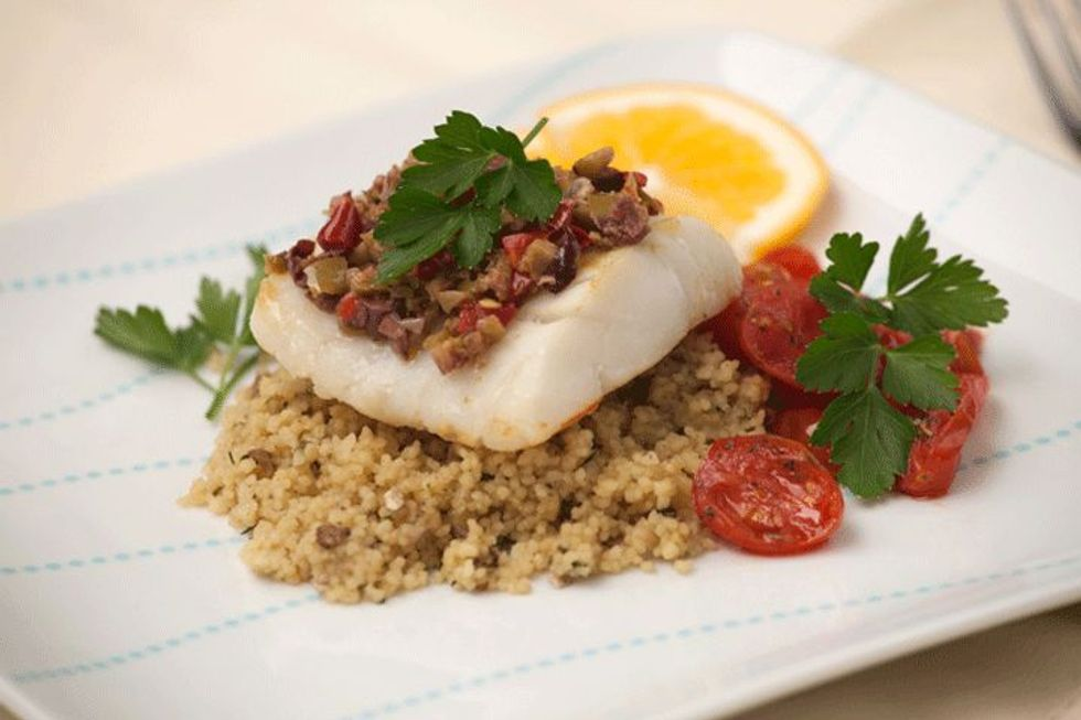 Red Snapper on a Bed of Brown Lentils