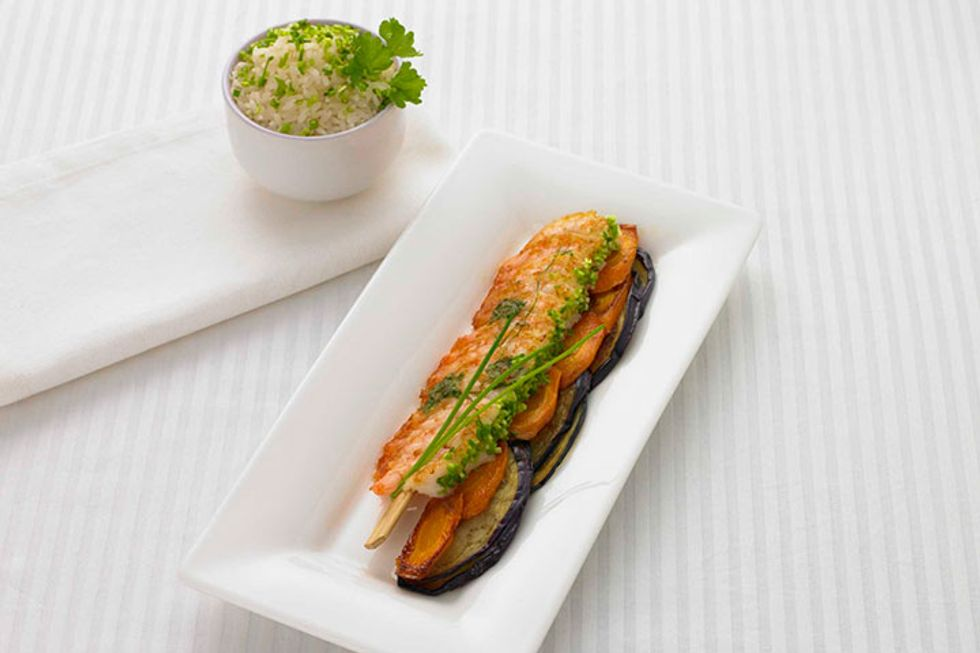 Eggplant and Shrimp With Crisp Carrots