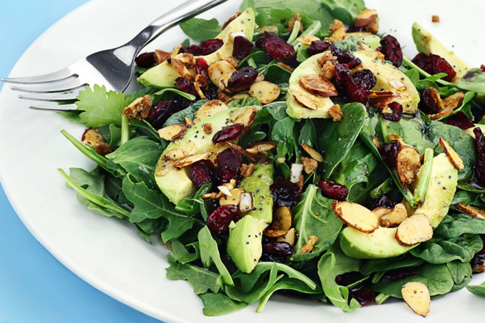 Amazing Green Salad with Black Olives, Avocado and Almonds